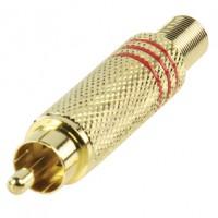 Vergulde RCA tulp plug met knikbescherming.