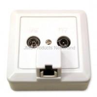 Combi Outlet Coax + UTP 1x RJ45 Gigabit uitvoering, retourgeschikt (Radio,TV,Netwerk Inbouw/opbouw)